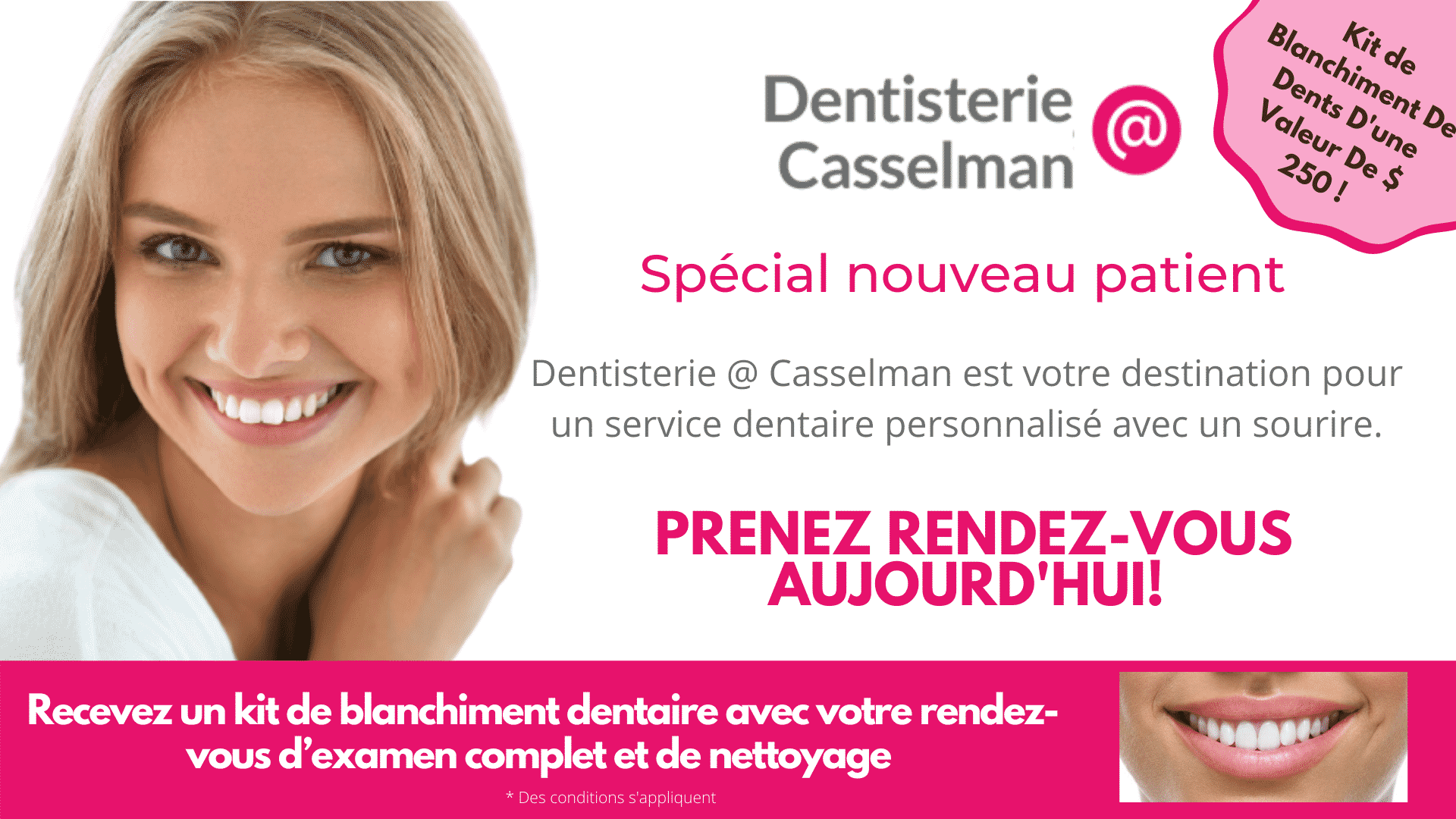 Dentist ad for teeth whitening french no b&a value 250